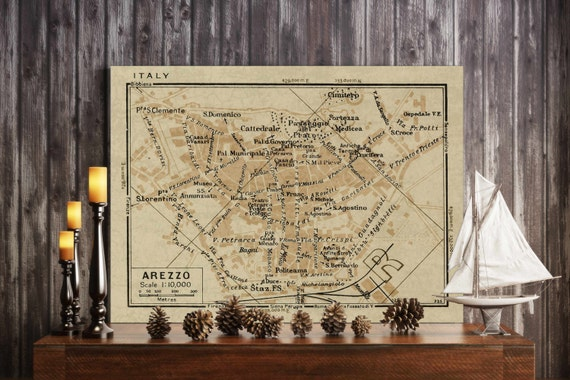 "Old map of Arezzo Italy 1935 Arezzo map up to 24x36""  Old world style Arezzo Italy wall map Fine Art Print"