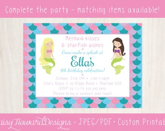 Printable Mermaid Kisses and Starfish Wishes Birthday Party Invitation