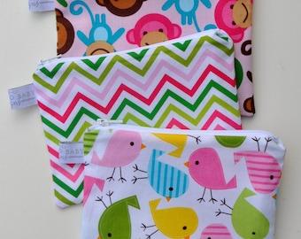 Eco Friendly Reusable Snack Bag - Choose Your Size and Print - Pink Monkey, Garden Chevron, Spring Bird