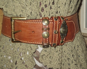 Vintage Women's Wide Saddletan Leather Belt , Heavy Gauge Leather , Ornate Buckle and Decorated Loops