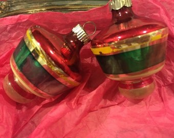 Vintage Shiny Brite Glass Christmas Ornaments Striped Ornaments Top Shaped