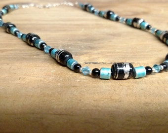 Black and turquoise glass beaded necklace