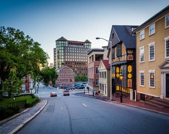 Buildings along Thomas Street, in Providence, Rhode Island. | Photo Print, Stretched Canvas, or Metal Print.
