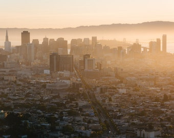 Foggy view of downtown at sunrise from Twin Peaks, in San Francisco, California. | Photo Print, Stretched Canvas, or Metal Print.
