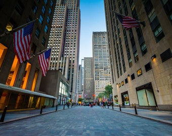 Walkway at Rockefeller Center, in Midtown Manhattan, New York. | Photo Print, Stretched Canvas, or Metal Print.