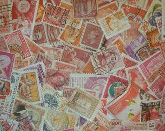 Vintage world postage stamps, red, orange