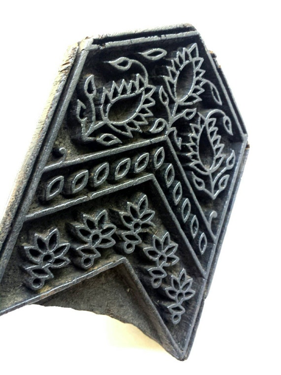 Vintage fabric / textile printing block. Wood print block. India. Art object. Wooden stamp.