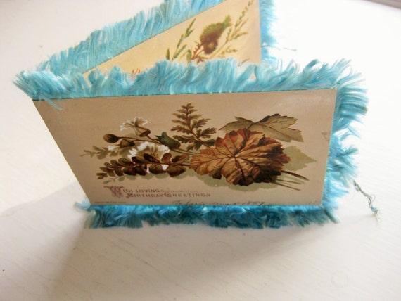 1887 Raphael Tuck birthday card. Four panels. Fringed. Happy Birthday. Vintage postcards.