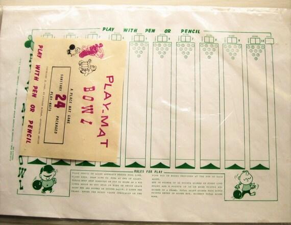 """Play-Mat Bowl Game. Vintage place mat bowling game. 1964 Richard McGraw Advertising. 14"""" x 9-1/2"""