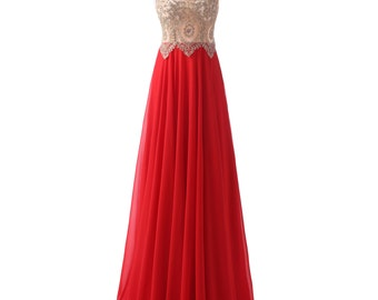 A-Line Long Evening Gowns,Handmade Crystal/Beading Chiffon Formal Long Evening Gowns/Prom Dress