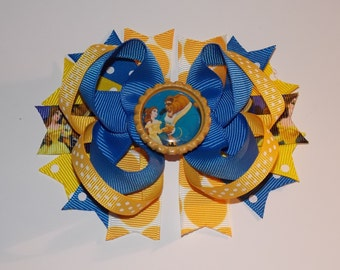 Beauty And Beast Disney princess Inspired Bottlecap Hair Boutique Bow