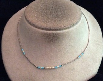 Vintage Sterling Silver Blue & Off White Glass Beaded Necklace