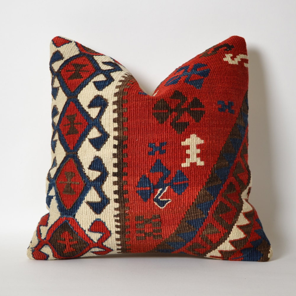 Decorative Pillows Kilim : Kilim Throw Pillow Cover Bohemian Chic Home Decor 16x16