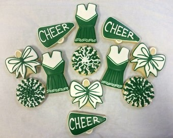 Cheerleading Cookies for Birthday, Cheer Competition Gift, Congrats Gift Cookies~ party favor cookies ~ Cheer cookie Gift basket