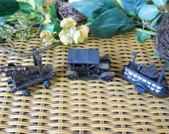 Vintage Collectible Pencil Sharpeners from the 1960'-70's Made in HONG KONG ~ Steamboat-Rolls Royce Car and Cannon ~ Natural Bounty Vintage