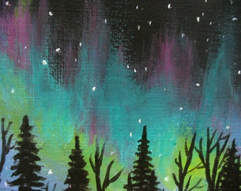 Original ACEO Painting Aurora Night Sky by Canadian artist Fay Fecteau
