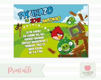 Printable DIY PERSONALIZED file, Angry Birds party invites