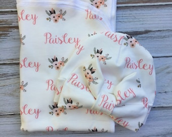 Fall Floral  Personalized Swaddle Blanket or Sets