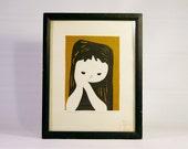 Kaoru Kawano (1916-1965) Japanese Mid Century Modern Block Print - Vintage Scarce Image