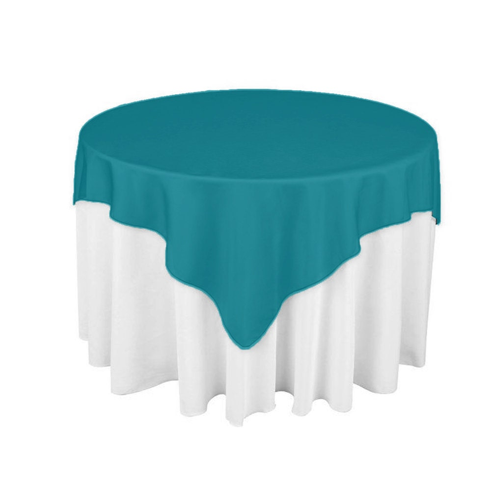 Teal 60 X 60 Square Overlay 100 Woven Polyester Tablecloth