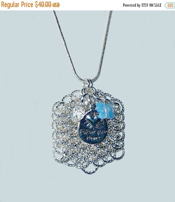 Dragon scale tag pendant with Swarovski crystal by NezDesigns