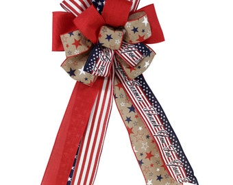 """26"""" Patriotic Fourth of July Stars and Stripes Bow"""