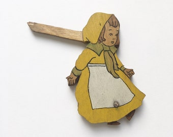 Wooden Dutch folk girl figure in yellow hood - darling, shabby chic, rustic, prop, shop display, moving children's toy, hand painted, small