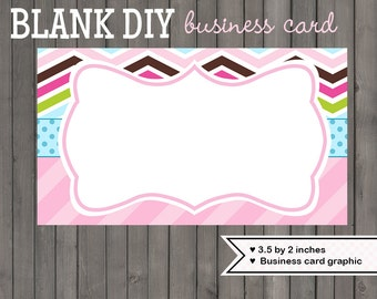 Chevron business card design graphic DIY blank template instant download printable crazy chevron - 149