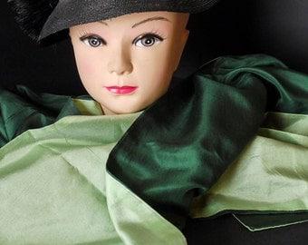 light green and dark green silk scarf