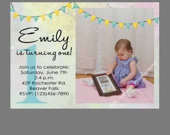 Printable Little Girl's First Birthday Party Photo Invitation