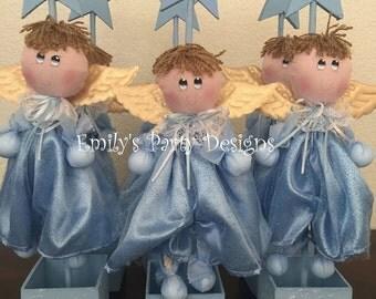 Adorable Angel Centerpieces, Baptism Centerpiece, Baby Shower Centerpiece, Angel Centerpiece. Christening Centerpiece.
