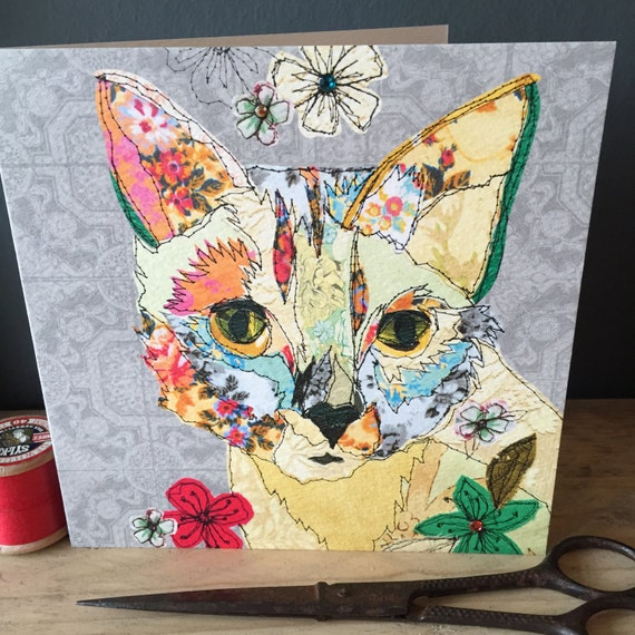 Cat-Greeting Card- handfinished