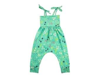 Baby Harem Romper, Toddler Harem Romper, Girls Romper, Baby Romper, Toddler Romper, Harem Romper, Baby Girl Romper, Meadow Blooms Floral
