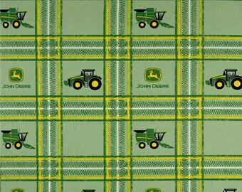 John Deere plaid fabric by the yard - John Deere tractor fabric - plaid John Deere fabric