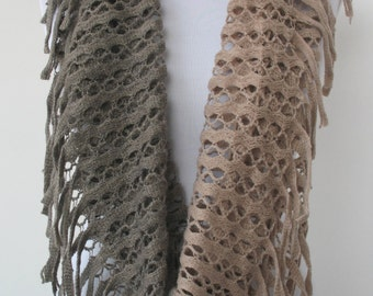 CLEARANCE SALE - Circle Scarf - Fringe Tassel Infinity Scarf - Tube Scarf - Loop Scarf