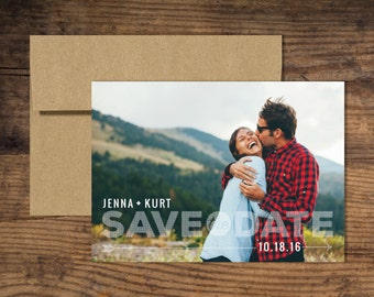Custom Photo Save the Date Wedding Announcement with Kraft Envelope
