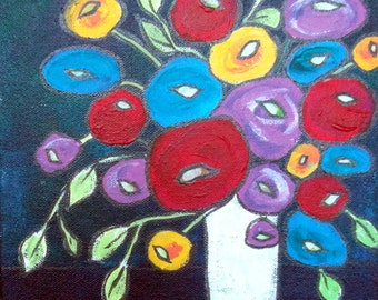 BUTTON BLOOMS II, Abstract, Quirky, Flowers, Original, Handmade Painting, Living Room, Art Decor
