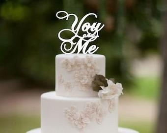 You and Me wedding cake topper, wedding cake decor, wedding cake decoration