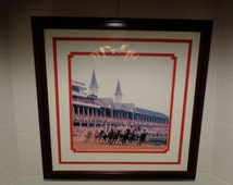 Vintage Kentucky Derby Churchill Downs Run for the Roses Matted frame Print