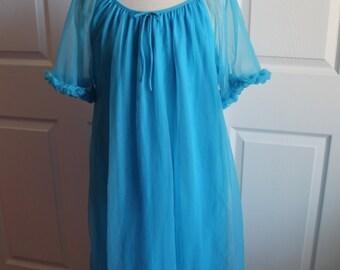 Vintage Chiffon Blue Babydoll Nightgown by Dara-Jane New York