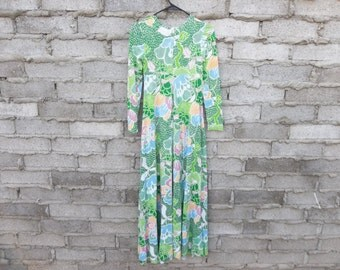 Vintage Dress Diane Von Furstenberg 1970s Italy Iconic Jersey sz Small Maxi Long