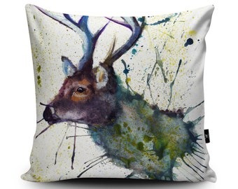 "Stag Cushion, Stag Pillow, Deer Cushion, Deer Pillow, Scottish Cushion, Scotland Pillow Case, Doe, 45cm/60cm, 18""/23.6"" Vegan Suede Cushion"