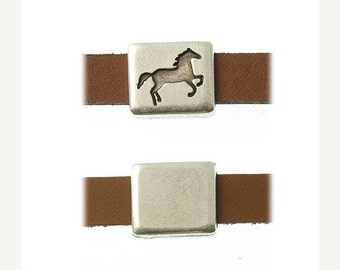 On Sale NOW 25%OFF Square Horse Sliders For 5-10mm Flat Leather Cord Antique Silver Z2514 Qty 2