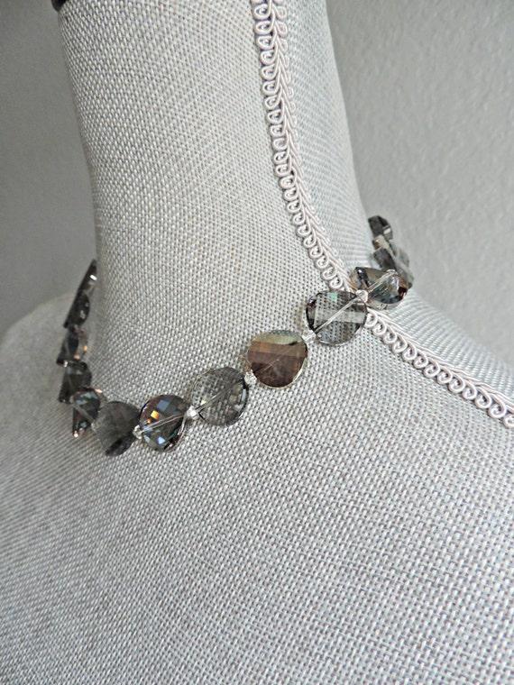 Shine Bright: Smoke Crystal Necklace //Artisan Necklace // Statement Necklace
