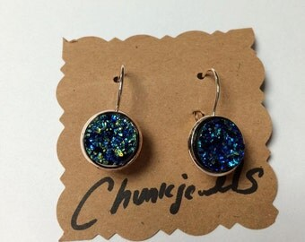 Royal Blue Druzy with Your choice Gold or Rose Gold Leverbacks