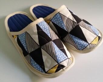 Handmade fabric slippers, house slippers, women slippers, Non slip house slippers, women house slippers, lady size 5-9 slippers, house shoes
