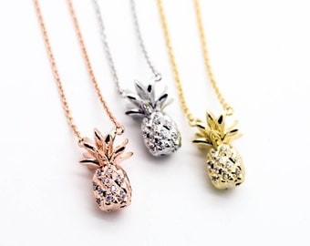 Pineapple stone gold plated necklace love, cute, adorable