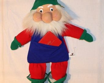 """30"""" tall elf Santa's helper with apron for holding cards, plastic face"""