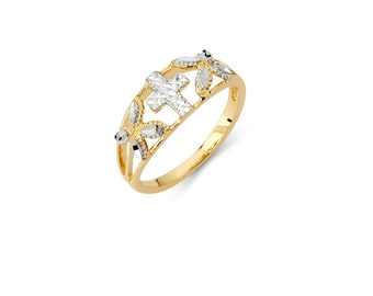 14k Two-Tone Solid 14K White/Yellow Cross Ring