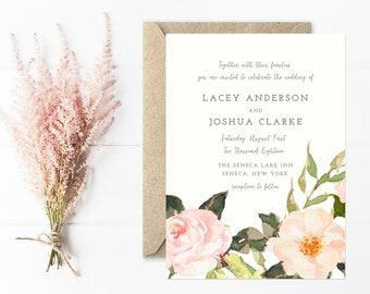 Floral Wedding Invitation, Hand Painted Flowers, Peach and Blush Garden Invitations